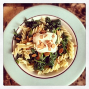 Fresh Spinach Pasta with Creamy Parmesan Sauce & Toasted Almonds