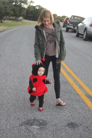 Annie taking Landri to Wicked Walk in the Woods!