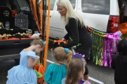 Trick or Trunking at School - Handing out candy