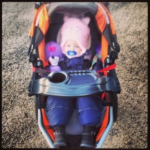 Bundled up in the stroller