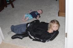 Landri hides in Daddy's bag!