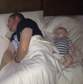 Sleepin next to Daddy!