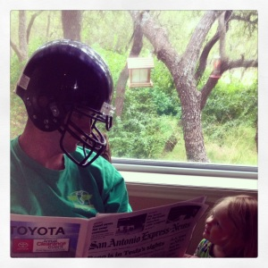 If Toddzilla demands that you read the paper wearing a football helmet, you do it!