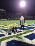 Rex's first time sitting on the field@