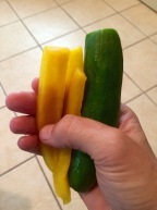 Fresh Yellow Bell Pepper and Cuke Snack!