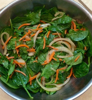 Wilted Spinach Salad with Marinated Onions in Mustard Seed Dressing