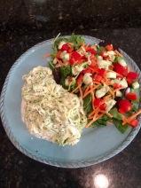 Zucchini Pasta Alfredo and Salad