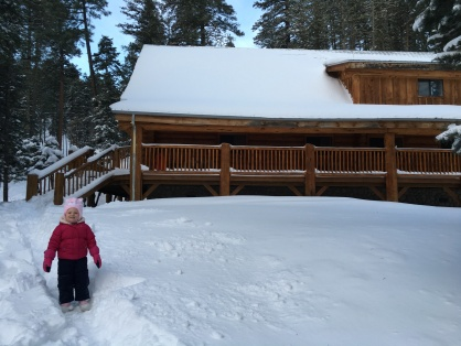 Landri in front of our cabin