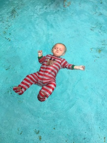 Ty floats, age 9 months